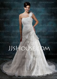 Wedding Dresses - $225.99 - A-Line/Princess One-Shoulder Court Train Organza Satin Wedding Dress With Ruffle Lace Beadwork Flower(s) (002004545) http://jjshouse.com/A-Line-Princess-One-Shoulder-Court-Train-Organza-Satin-Wedding-Dress-With-Ruffle-Lace-Beadwork-Flower-S-002004545-g4545