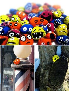 Painted rocks to leave everywhere {guerilla artwork}***************    I am doing this also with my painted Candy corn painted stones (Audiz Creations)