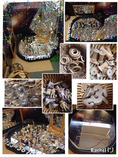 "Exploring reflection & loose parts in the small world area - from Rachel ("",)- ooo! Tinfoil in small world play! Reggio Classroom, Outdoor Classroom, Learning Centers, Early Learning, Deconstructed Role Play, Science Activities, Activities For Kids, Investigation Area, Investigations"
