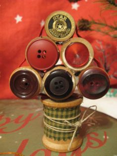 Vintage Wooden Thread Spools and Buttons Christmas Tree Primitive Decor