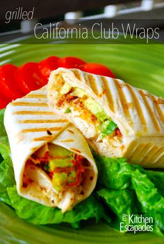 Grilled California Chicken Wraps--Flour tortillas Leftover chicken, chopped Shredded cheese Real bacon bits (please no fake stuff!) Avocado, sliced Chopped green onion Ranch dressing