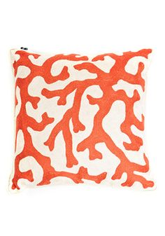 28 & 9 Cashmere 100% Wool Coral Hand Crewel Pillow