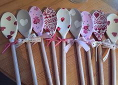 Decoupaged wooden spoons.