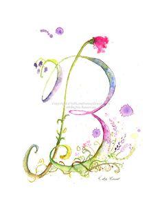 Letter B  Watercolor Monogram  Flower Lettering  Watercolor