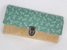 Portemonnaies - XL Portemonnaie LIBELLEN  mit Kork in seafoam - ein Designerstück von ullamara-shop bei DaWanda