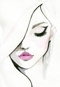 Fashion illustration face drawing portraits 36 Ideas for 2019 Fashion Illustration Face, Watercolor Illustration, Watercolor Art, Illustration Girl, Watercolor Fashion, Fashion Illustrations, Portrait Illustration, Makeup Illustration, Pencil Art Drawings