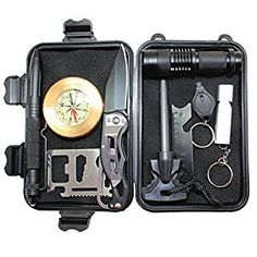 Amazon.com: 10 in 1 Wild Survival Kit Briefcase EDC Outdoor Survival Kit Emergency Tool with Fire Starter Saber Card Flashlight Whistle etc by Boshiho: Sports & Outdoors