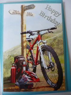 Cycling around the country~ Happy Birthday greeting Handmade card 3D~ Male