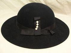 Vintage Womens 1960 s Navy Blue Wool Felt Wide Brim Fedora Hat w Pearls Mr  Field  ae9134ca4768