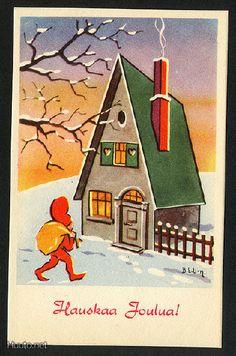 Bjarne Uttuslien Christmas Illustration, Vintage Christmas Cards, Vintage Postcards, Winter Wonderland, Elf, Gift Wrapping, Orange, Holiday Decor, Prints