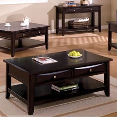 Furniture U0026 Design :: Living Room Furniture :: Coffee Table Sets :: Baldwin  Espresso Wood Finish Contemporary Style Square Cocktail Table With Drawers  For ...