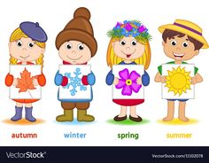 Children holding sheet of paper with icons of Vector Image Four Seasons Art, Seasons Of The Year, Preschool Decor, Preschool Learning Activities, Maternelle Grande Section, Camping Crafts For Kids, Christmas Treat Bags, Arabic Alphabet For Kids, Flashcards For Kids