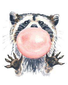 Watercolor  Colores Colors  Beautiful  Art Arte Mapache Goma de mascar Chicle Black and White Animal Cool