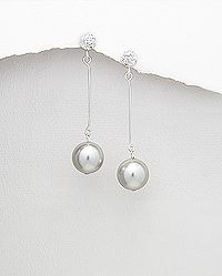 Silver earrings with simulated pearl (more color available)