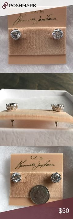 Diamond Studs in Crown setting Kenneth Jay Lane Gorgeous 6 CTTW Round cut CZ diamond stimulant studs with a crown setting. High sparkle Kenneth Jay Lane Jewelry Earrings