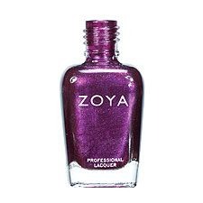Zoya Nail Polish in Carly - Very rich, bold, red-toned dark purple with iridescent red and silver metallic shimmer and a dense foil finish