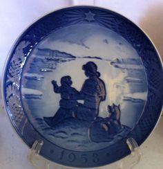 Rare Collectible 1958 Royal Copenhagen Christmas Plate Sunshine Over Greenland