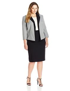 Tahari by Arthur S. Levine Women's Plus-Size Tahari Asl Houndstooth Skirt Suit https://www.amazon.com/Tahari-Arthur-S-Levine-Houndstooth/dp/B00PRR865W/ref=as_li_ss_tl?s=apparel&ie=UTF8&qid=1491222683&sr=1-97&nodeID=1040660&psd=1&keywords=plus+size+business+suit&linkCode=ll1&tag=pintr20-20&linkId=6a47d57ccd690f0b4b9a49c8638da5f8