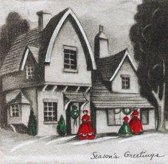 Ladies Little Girl Shop Window Vintage Christmas Card