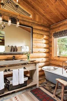 A Day in the Life at Lone Mountain Ranch Small Log Homes, Small Log Cabin, Tiny House Cabin, Log Cabin Homes, Small Houses, Cottage Homes, Log Home Bathrooms, Rustic Bathrooms, Retirement House Plans