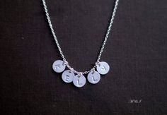 Sterling Silver 5 Initial Necklace  Personalized by PiggyStudio, $30.00