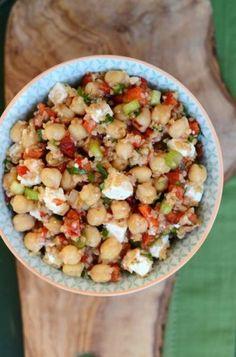 Chickpeas, Bulgur, Roasted Bell Peppers & Feta Salad