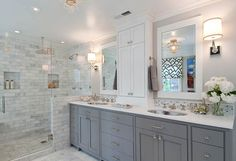 Ideas Bath Room Shower Tile Ideas Walk In Bath Remodel For 2019 Grey Bathrooms, Bathroom Renos, Beautiful Bathrooms, Bathroom Flooring, Bathroom Remodeling, Remodeling Ideas, Bathroom Vanities, Master Bathrooms, Bathroom Storage