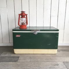 """Large Mid Century Coleman Metal Ice Chest, Cooler, Camping Cooler, Party Ice Chest """"Green & White Classic"""""""