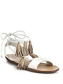 Loeffler Randall - Saffron Leather Tassel Lace-Up Sandals