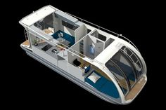 """This is the ultimate """"do something"""" camper, one that functions not only as an RV but as something else entirely: a boat. Pontoon Houseboat, Pontoon Boat, Wooden Boat Plans, Wooden Boats, Trailerable Houseboats, Tiny Boat, Floating Architecture, Camper Boat, Water House"""