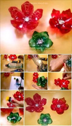 Here's the link to the tutorial >> How to Make Flowers from Plastic Bottles << by Artesanato Viviane Magalhães Water Bottle Crafts, Plastic Bottle Flowers, Reuse Plastic Bottles, Plastic Bottle Crafts, Diy Bottle, Recycled Bottles, Plastic Jugs, Twig Crafts, Mason Jar Crafts