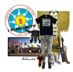 """""""Wambli Stands With Standing Rock"""" by wambliwakan ❤ liked on Polyvore featuring Sioux, R13, C.R.A.F.T., statementtshirt, NoDAPL and Istandwithstandingrock"""