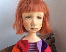 Handmade Art clay doll, OOAK Art Doll,ooak doll, paper clay doll,doll, doll…