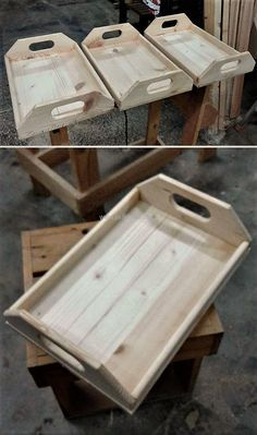 "wood pallet serving trays (Diy Wood Pallet) ""Easy To Make Wood Pallet Furniture Ideas: It is not difficult to modify the wood pallets, but if someone wants Diy Wood Pallet, Wooden Pallet Projects, Wooden Pallet Furniture, Pallet Crafts, Wooden Pallets, Wooden Diy, Diy Furniture, Diy Projects, Project Ideas"