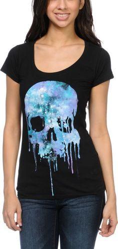 cd1720de44d7c Empyre Cosmic Drip Skull Black T-Shirt