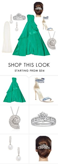 """A Little Mermaid Wedding"" by lbaker-ct on Polyvore featuring Oscar de la Renta, Roberto Coin, Tiffany & Co., Belpearl, 16 Braunton and Rime Arodaky"