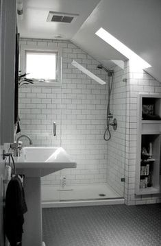 If you are looking for Small Attic Bathroom Design Ideas, You come to the right place. Below are the Small Attic Bathroom Design Ideas. This post about S. Shower Room, Industrial Bathroom, Bathroom Interior, Sloped Ceiling Bathroom, Loft Bathroom, Shower Floor, Bathroom Renovation, Attic Shower