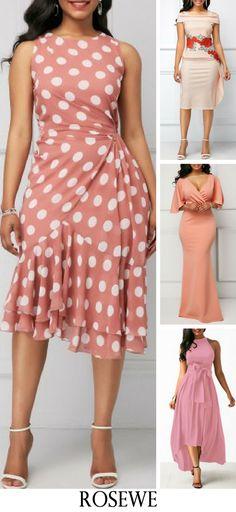 Polka Dot Print Ruffle Hem Sleeveless Sheath Dress.#Rosewe#womensfashion#dress