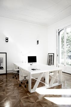 Home office. Large Desk. Light. Bright. White. Wood Floors. Work. Design. Decor. Minimal. Interior.