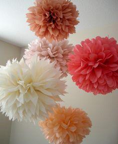 Bisous, bisous ... 5 tissue paper poms // wedding reception // tea party // birthday // party decorations. $18.00, via Etsy.