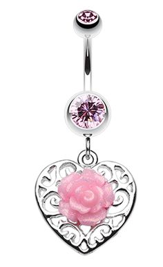 Glittering rose and Decorative Heart Belly Button Ring - 14 GA (1.6mm) - Light Pink - Sold Individually
