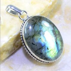 Labradorite pendant This is a large STUNNING piece of cabochon Labradorite in 9.25 silver. (Pendant only) Jewelry Necklaces