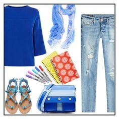 """School in Blue"" by kleinwillwin ❤ liked on Polyvore featuring Karen Millen, True Religion, Kenzo, Joy Accessories and Sharpie"