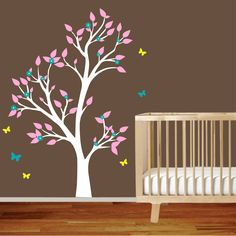Nursery tree wall decal for boys or girls. *love*  Obsessed with the trees