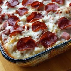 ***3-25-2013***3Meat Pizza Casserole - this was super yummy & very cheesy. :) My husband loved it.