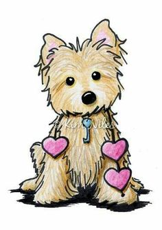 KiniArt Cairn Terrier dog breed art by Contemporary PUP Artist, Kim Niles. © Kim Niles, KiniArt™ - All Rights Reserved. Cartoon Drawings, Cute Drawings, Animal Drawings, Art Portfolio, Westies, Bird Art, Dog Art, Illustration, Cute Animals