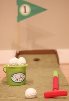 DIY Putting Green and Crocheted Golf Balls. I've already made these balls (they make great snowballs for indoor snow fights) and Bradleigh got clubs for Christmas!