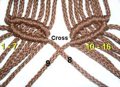 Cross Holding Cords how to macrame leaves