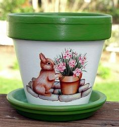 Bunny in the Garden Terra Cotta Flower Pot by EllensClayCreations, $12.00