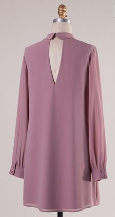 The perfect fall dress! Fun mauve color that can be paired with knee high boots or dressed up with heels. It features beautiful lone sleeves with buttons, a mock neck, and a keyhole back with two buttons. Fully lined! Fall Dresses, Simple Dresses, Casual Dresses, Short Dresses, Long Sleeve Short Dress, Chiffon Dress Long, Hijab Fashion, Fashion Dresses, Formal Dress Patterns